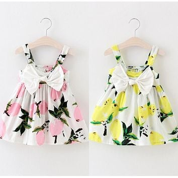 Baby Girls Floral Fruit Bow Dress Summer Infant Lemon Print Bowknot Sleeveless Clothes Baby Girl Dress 0-3Y