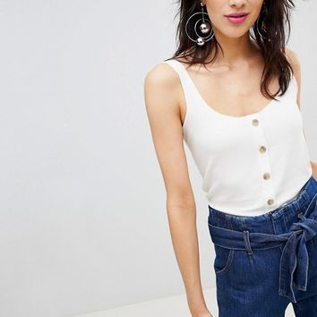 Stradivarius Button Front Jersey Top at asos.com