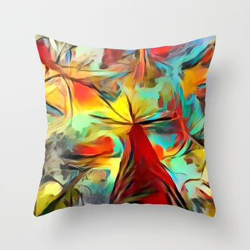 Red forest, colorful sky view, abstract warm artwork, red and yellow colors, nature themed pattern Throw Pillow by Casemiro Arts - Peter Reiss