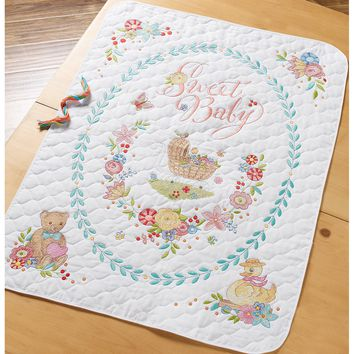 "Sweet Baby Bucilla Stamped Crib Cover Cross Stitch Kit 34""X43"""