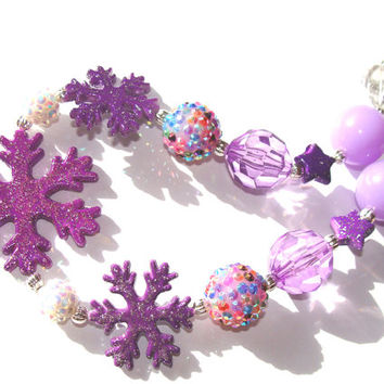 Purple Snowflake Chunky Beaded Necklace Girls Toddler Fun Fashion Jewelry
