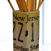 New Jersey License Plate Pencil Holder - Pencil Cup - Unique Pencil Cup - Desk Accessories - Office Decor - Pen Holders - Pen Cup - New Job