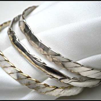 Lot of Three 925 sterling Mexican Bangles