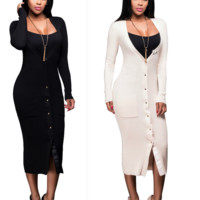 Fashion Sexy knit long sleeve dress white Black