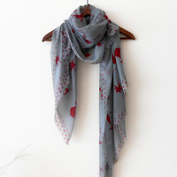 Gray Shawl - Gray Cats Scarf - Cat Patterned Shawl, Gray Winter Shawl - Gray Cotton Shawl - Gray Scarf - Red Cat Scarf - Gray Big Shawl