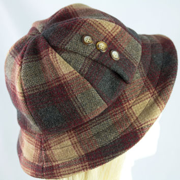 British Campaign Army Pith Helmet - Six Panel Wool Cashmere Camp Plaid