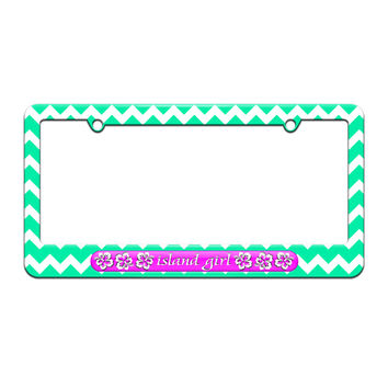 Island Girl Pink - Tropical Hibiscus Hawaii - License Plate Tag Frame - Teal Chevrons Design