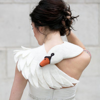 White Swan - felted wool animal scarf, bridal stole / shrug
