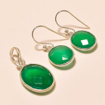Green Onyx 925 Sterling Silver Pendant Set Onyx Gemstone Pendant Set Handmade Pendant Set Silver Pendant With Earrings