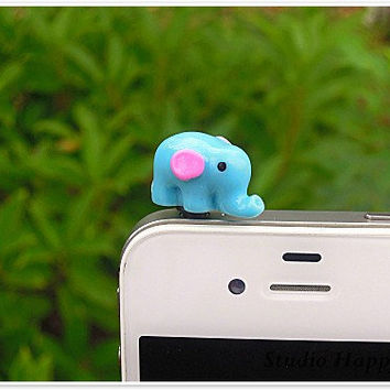 1PC Kawaii Animal Blue Resin Elephant Earphone Cap Anti Dust Plug for iPhone 5 & 4, Samsung, Nokia, HTC