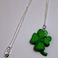 Shamrock Necklace, Four Leafed Clover Necklace, Polymer Clay Charm, St Patricks Necklace, Irish Necklace, Kawaii Necklace