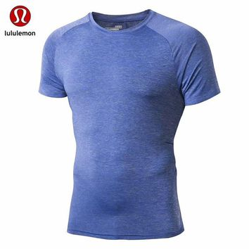 Lululemon Men Elastic Breathable Sports Fitness Short Sleeves
