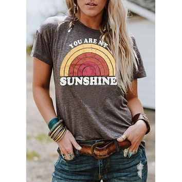 Women T-Shirt Summer Short Sleeve tops tee You Are My Sunshine Rainbow Print O-Neck