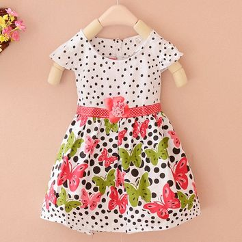 Fashion Baby Girls Kids Dress Polka Dots Butterfly Princess One-piece Dress