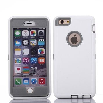 "Crosstreesports iPhone 6 Case iPhone 6s Case Heavy Duty Shockproof Series Case for iPhone 6/6S (4.7"")-V2 with Built-in Screen Protector Compatible with All US Carriers - White and Grey"