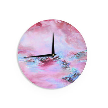 "Ebi Emporium ""Sea To Sky 3"" Pink Abstract Wall Clock"