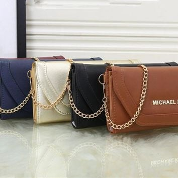 """Michael Kors"" Simple Fashion Solid Color Button Long Section Three Fold Wallet Metal Chain Single Shoulder Messenger Bag Women MK Purse"