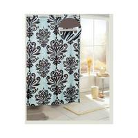 EZ On Beacon Hill Fabric Shower Curtain, Brown/Blue