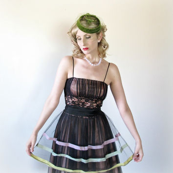 1950's Apron, VINTAGE, PINUP, Burlesque, SHEER, Wedding Gift, Bridal Shower, Sexy, Baking, Tulle