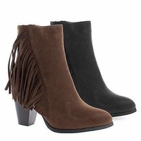 Cinco1 By DBDK, Western Fringe High Stacked Block Heel Ankle Boots Booties for Women