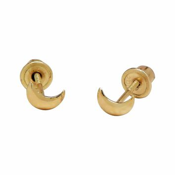 10k Solid Gold Tiny Half-Moon Studs