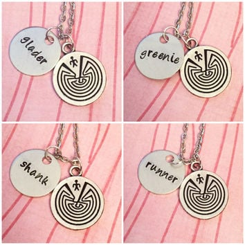 Maze Runner Inspired Best Friends Necklaces - Fandom Jewelry - TMR Jewelry - Best Friends Jewelry - Greenie, Runner, Shank, Crank, Glader