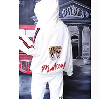 DCCKN6V Gucci Fashion Casual Long Sleeve Hooded Embroider Tiger Multicolor Stripe 7 Minutes Of Pants Two Piece G-AGG-CZDL