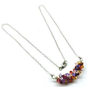 Beaded Multi Color Spring Blossom Crystal Necklace