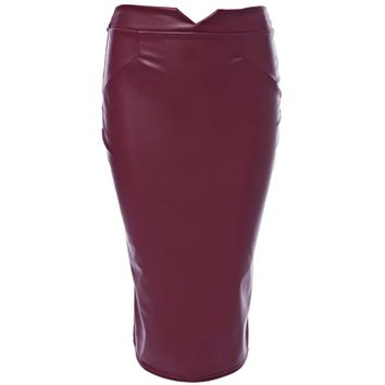 Trendy Mid Waist Pure Color Faux Leather Skinny Midi Skirt for Ladies