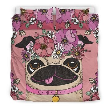 Floral Pug Bedding Set-Clearance