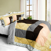 Simple Blanche Quilted Patchwork Down Alternative Comforter Set in Full/Queen Size