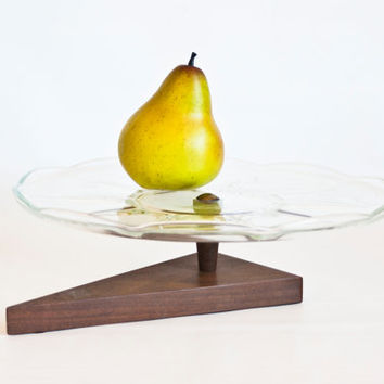 Unique MCM Snack Serving Tray Cake Stand Cheese Platter, Triangle Wood Base, Mid Century Clear Glass Party Tray