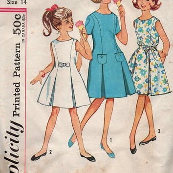 Vintage Simplicity 1960s Sewing Pattern School Girl Dress Inverted Pleat Flared Skirt Party Dress Princess Cut Size 14 Bust 32