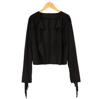 Faux Suede Tassel Fringed Long Sleeve Cardigan Top