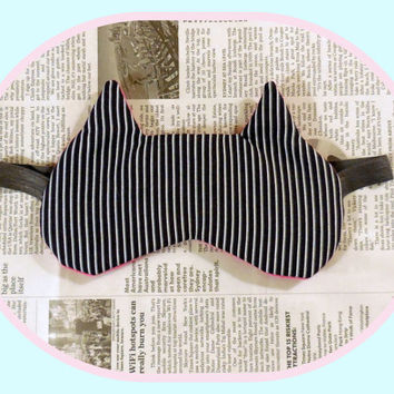 Night Sleep Mask - Kitty Ears - Hot Pink Fleece - Black White Striped - Cotton Dark Comfortable - Cute Cat Nap Eye Cover - Women - Teen Girl