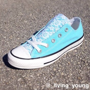 Floral Lace Converse Shoes / Tiffany Blue / Aqua / Sky Blue