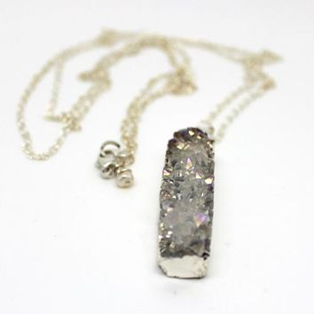 Long Silver AB Druzy Necklace