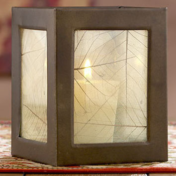 "Ghost Leaf Lantern, 4.5""H 
