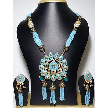 Triple tassel hanging unique glass crystal bead long chain necklace and Earring set