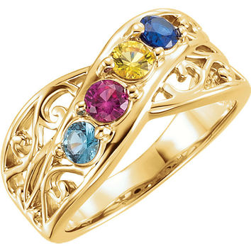 Yellow Gold Filigree Lined Birthstone Ring with 1 to 5 Stones