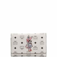 MCM Rabbit Three-Fold Flap Wallet, White/Multi
