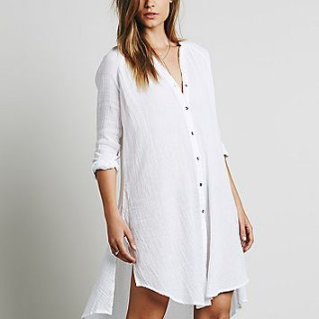 Free People Womens Washed Buttondown Tunic