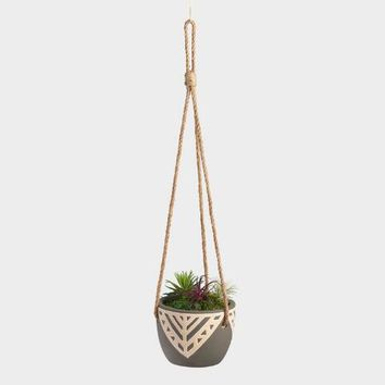Charcoal Gray Tribal Ceramic Hanging Planter