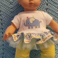 "Baby Doll Clothes to fit Bitty Baby ""Blue Elephant"" (15 inch) Will fit Bitty Baby® dress, leggings, socks and headband B2?"