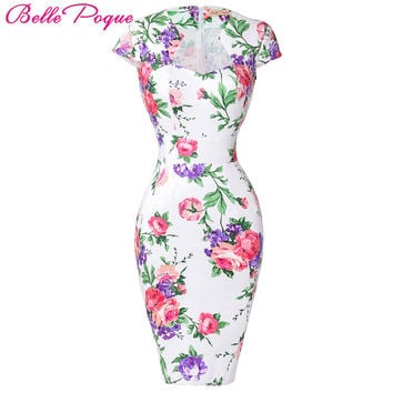 Summer Dress 2017 50s Vintage Womens Sexy Dresses Party Night Club Sheath Plus Size Vestidos Floral Bodycon Women Pencil Dress
