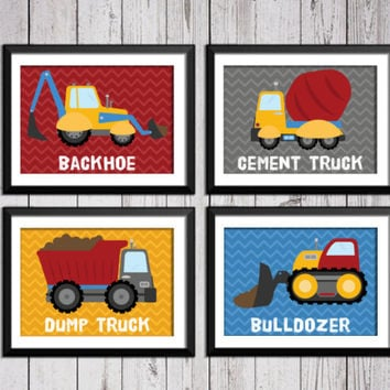 Trucks art prints, construction decor, backoe, dump truck, bulldozer,  cement truck