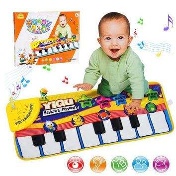 LMFLD1 New Infant Baby Piano Playing Toy With Funny Music And Animal Sounds Crawling Mat Bay Kids Educational Gift 72*29cm