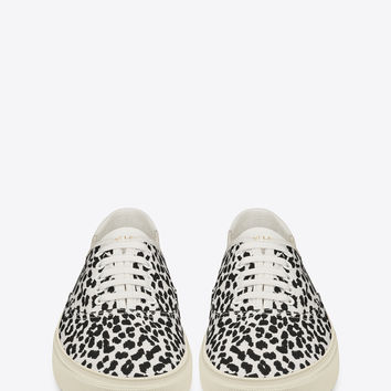 Saint Laurent Skate Lace Up Sneaker In White And Black Babycat Printed Canvas | ysl.com