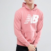 New Balance Pullover Hoodie In Pink MT81557_DTP at asos.com