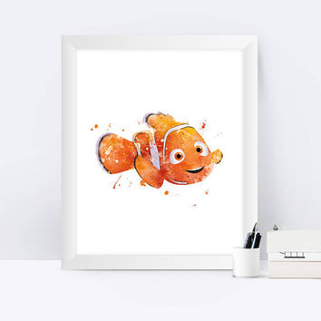 Nemo Print Watercolor Art Finding Nemo Dory Print Disney Finding Nemo Poster Art Print Kids Room Gift Digital Download